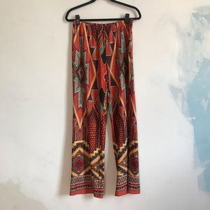 Aztec Print Wide Leg Pants